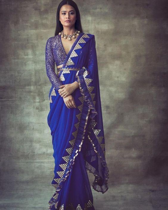 blue belted saree