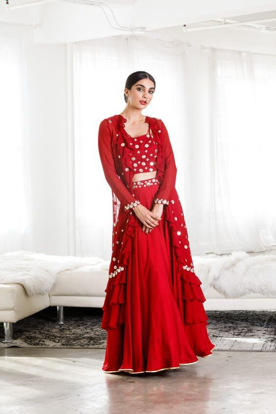 red ethnic wear