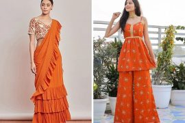 orange color indian wear