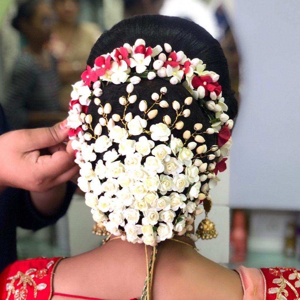 floral hair bun