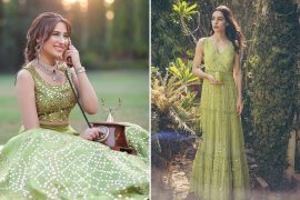 green indian outfits
