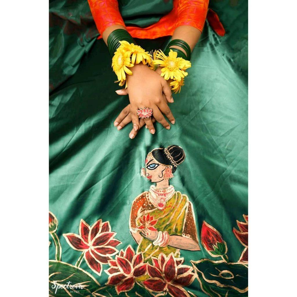 hand painted bridal lehenga