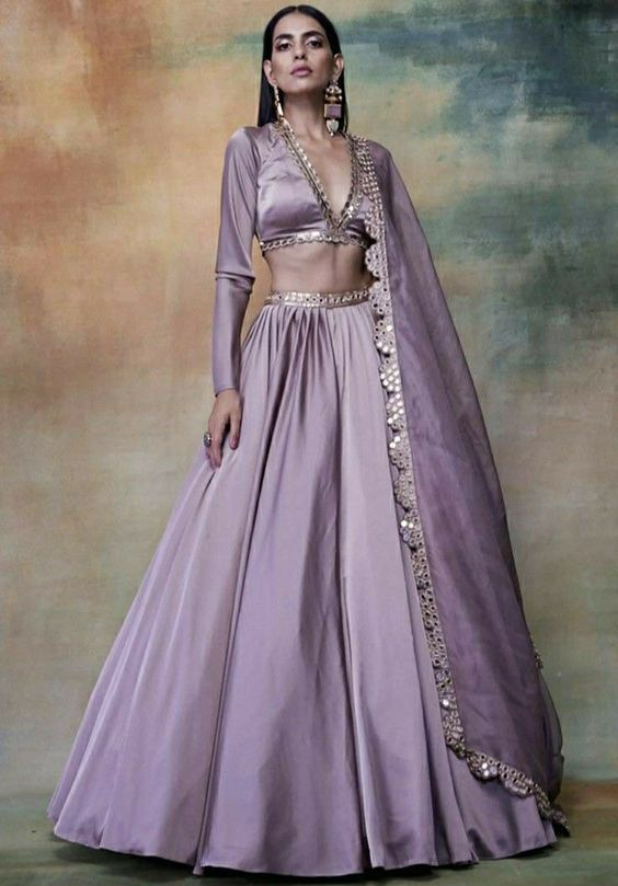 purple lehenga skirt and blouse set