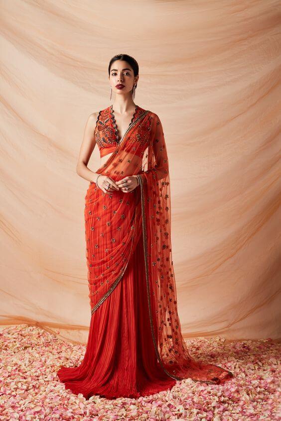 red saree ideas