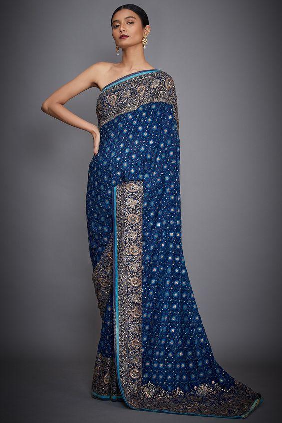 royal blue coloured saree