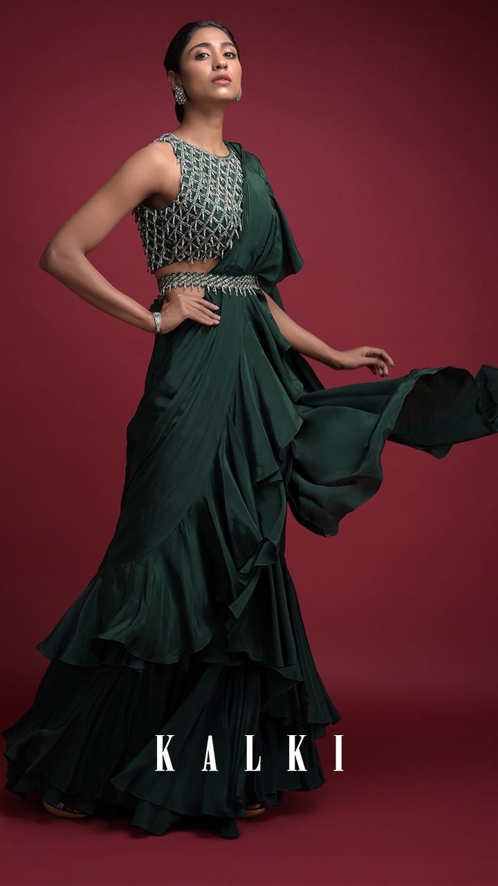 royal dark green saree