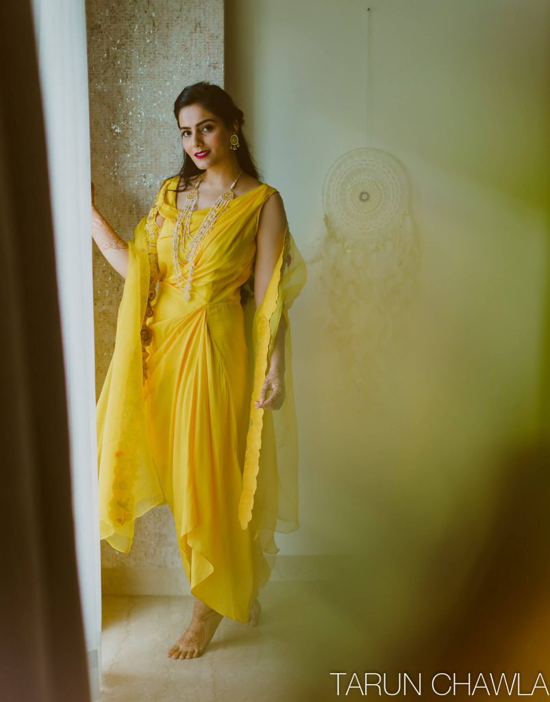 yellow haldi outfit ideas