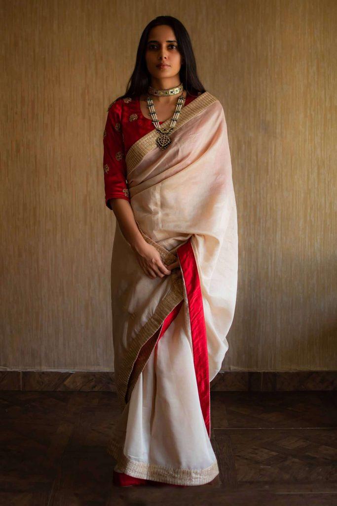 white bengali saree