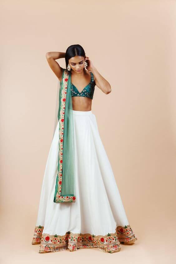 white ghagra choli