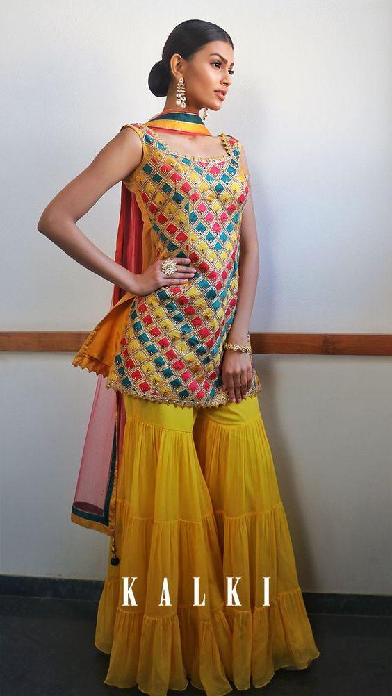 yellow gharara choli