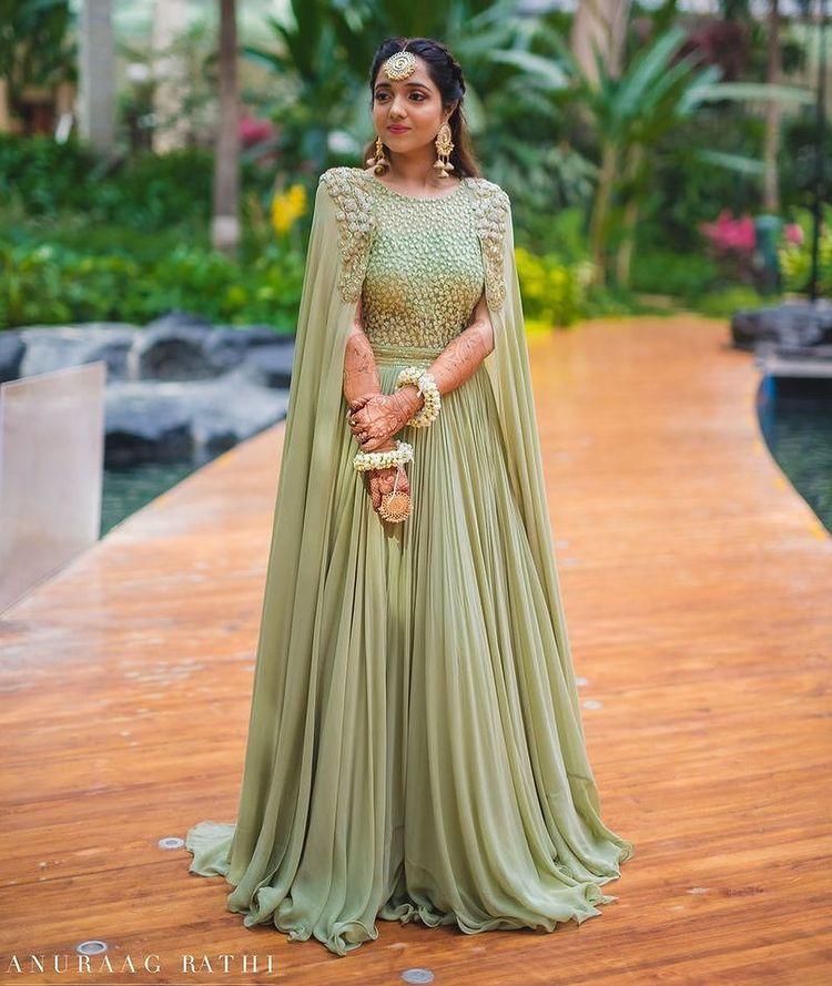 bridal green lehenga