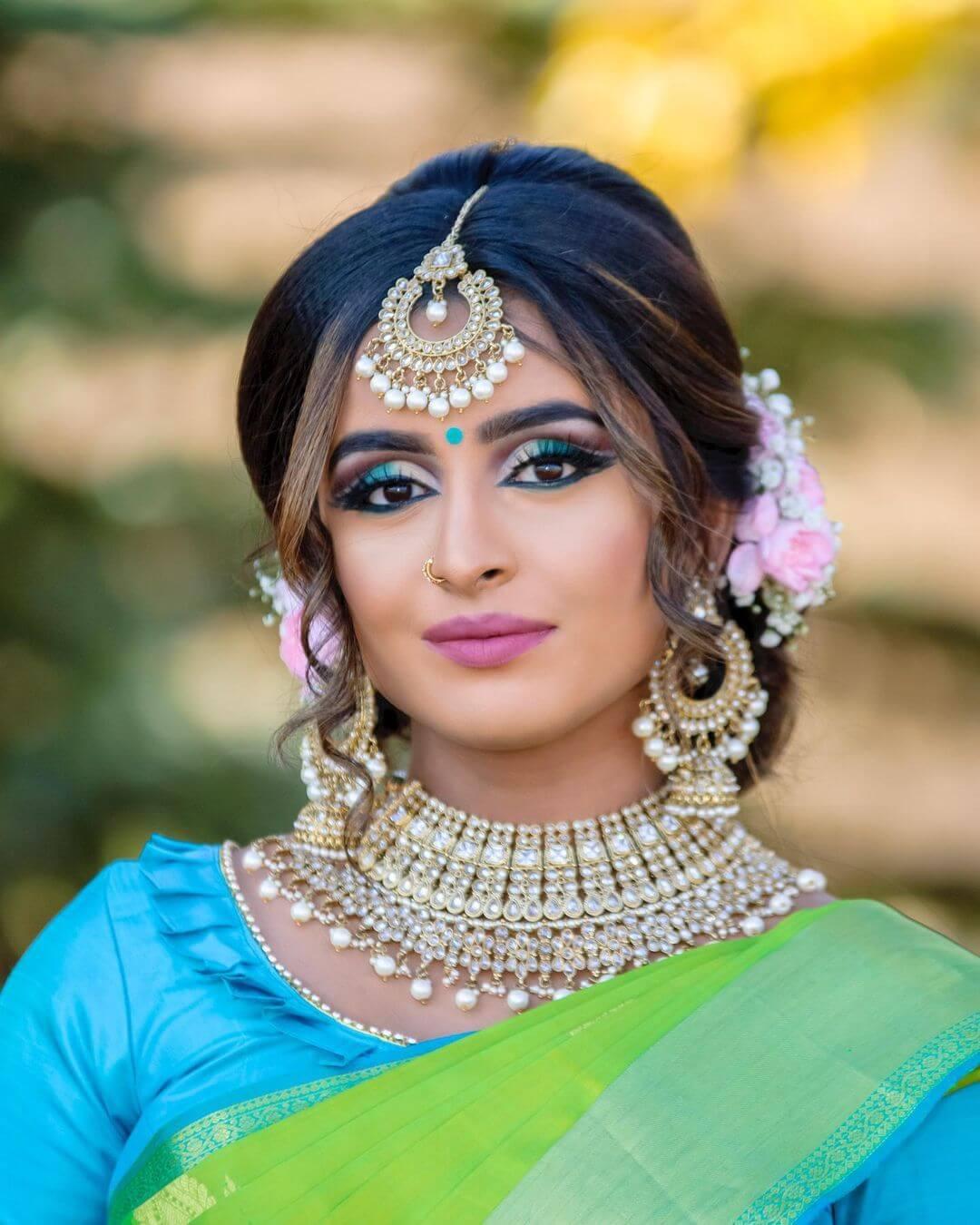 Blue Eye Makeup Tamil Bride