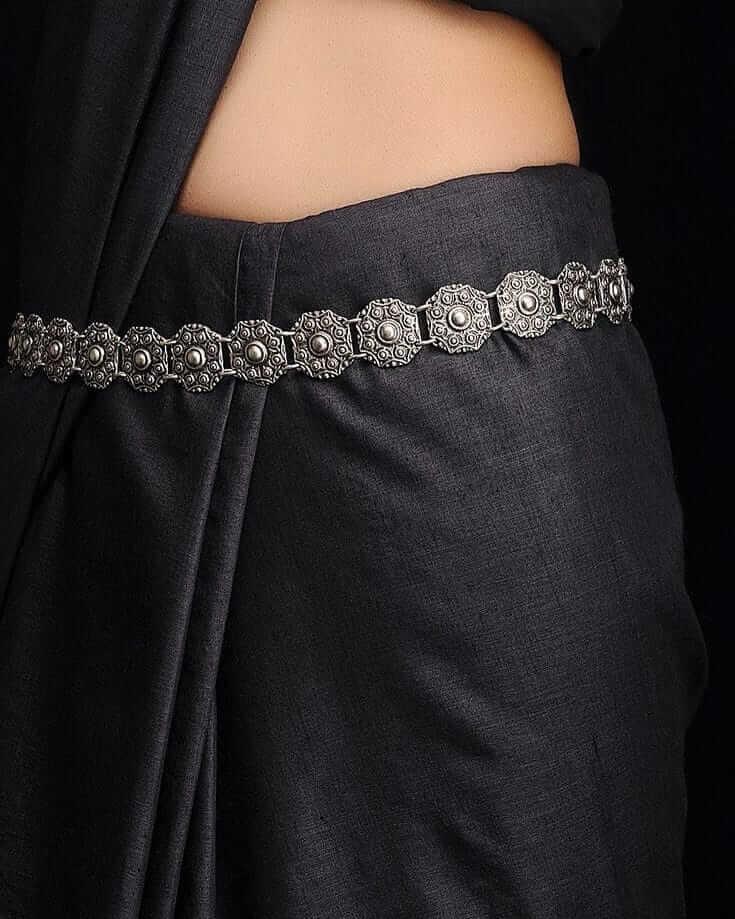 Silver Oxidised Waist Chain