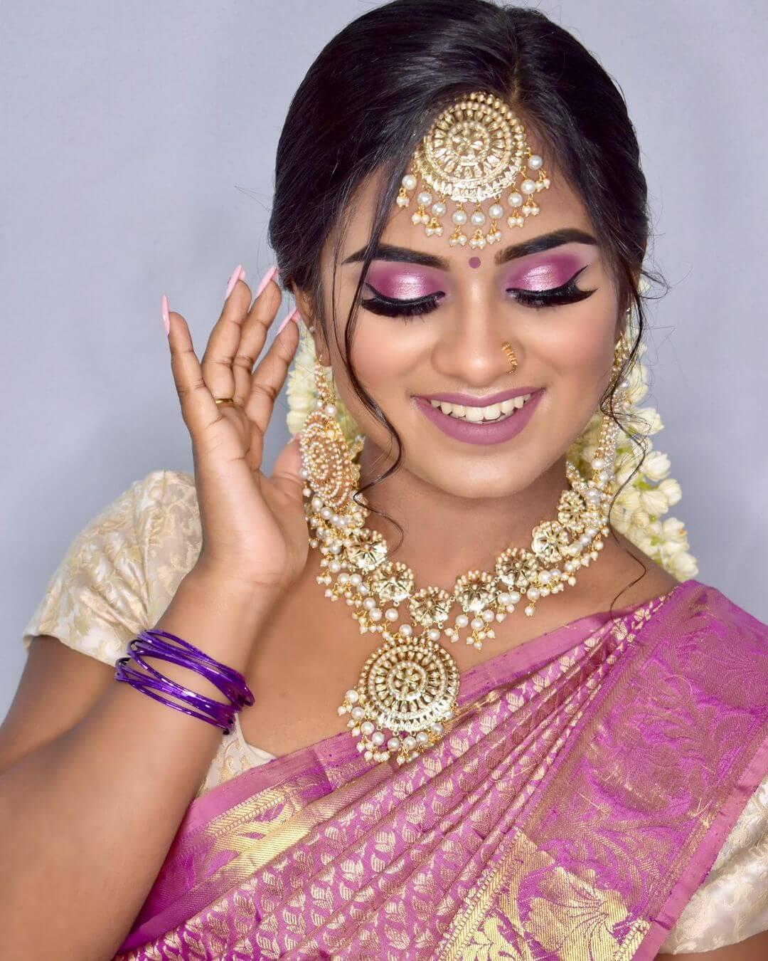 Pink Eyeshadow Tamil Bride