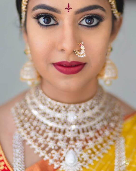 Red Lips Bridal Makeup