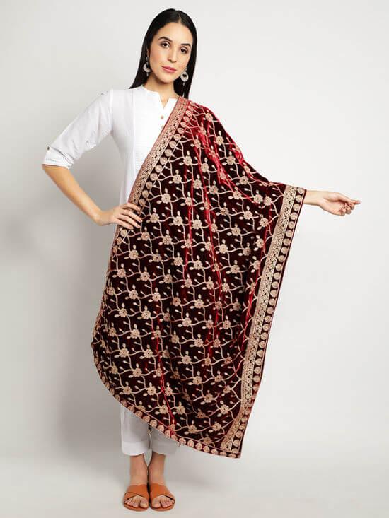 Red Wedding Shawl Nykaa fashion