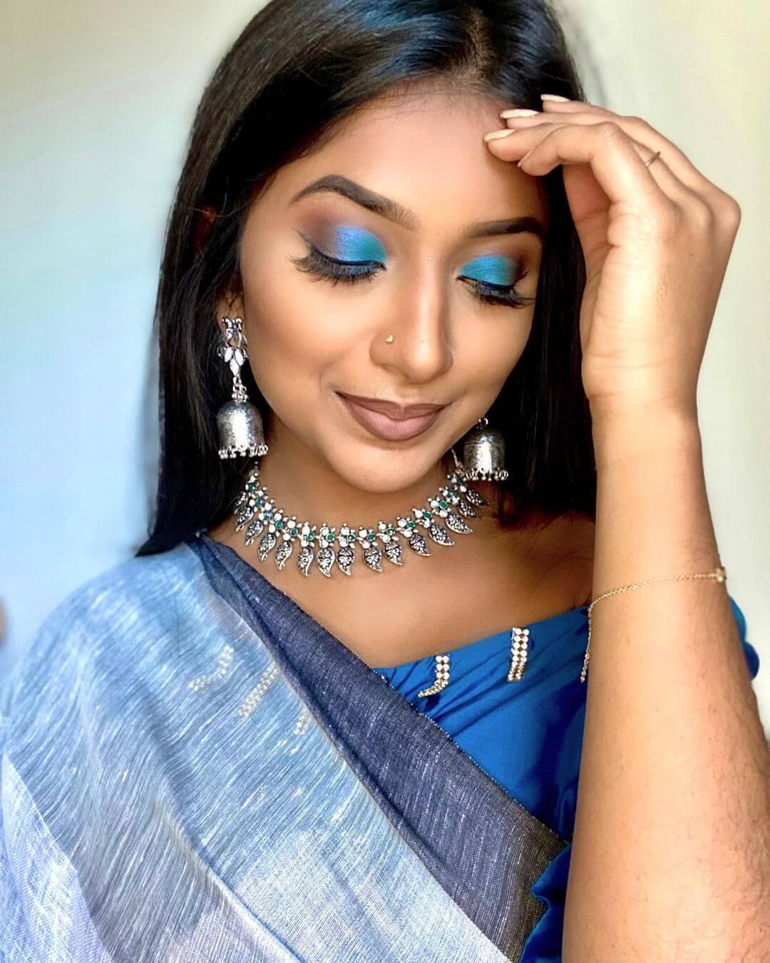 Tamil Bride Blue Eye Makeup