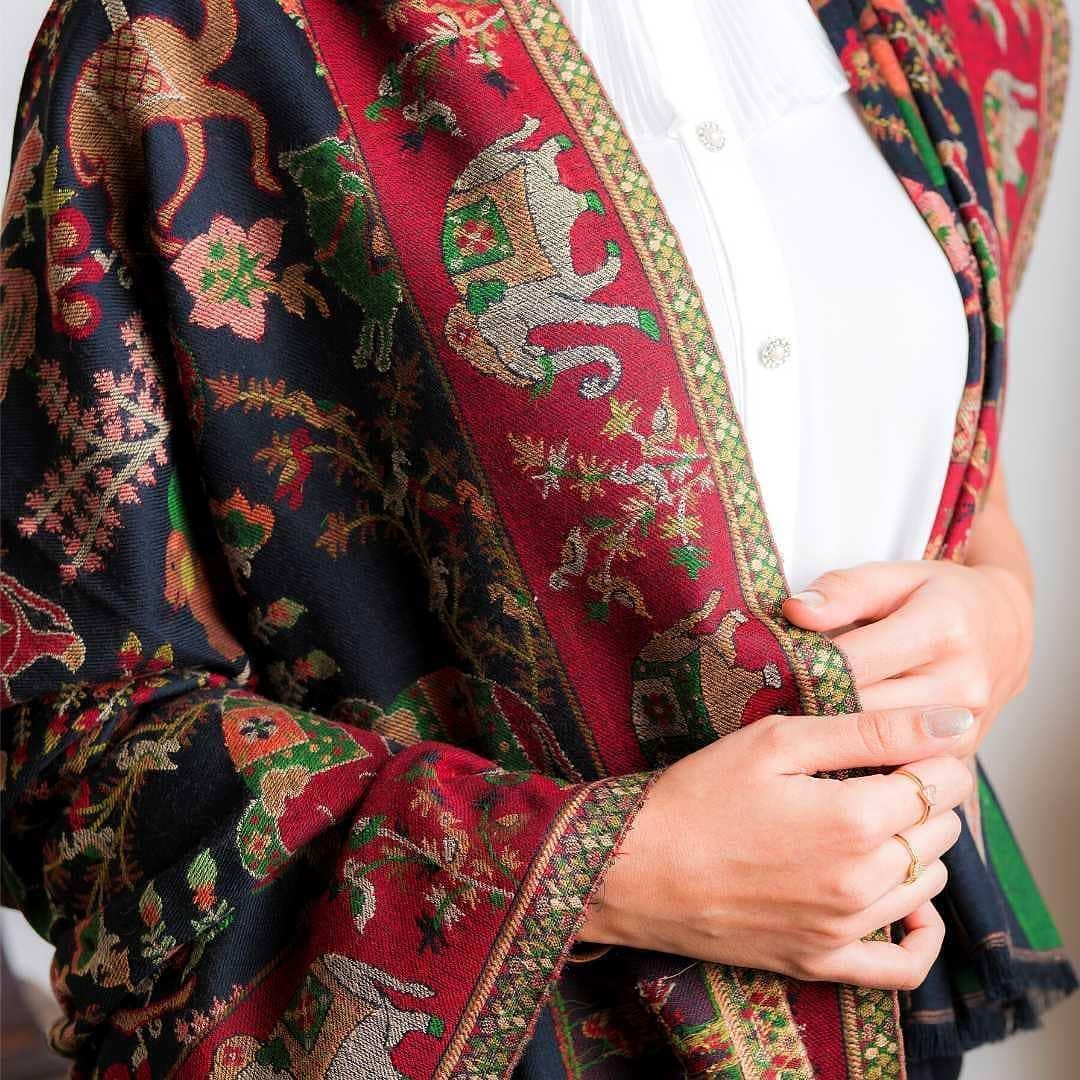 Traditional Print Bridal Shawl