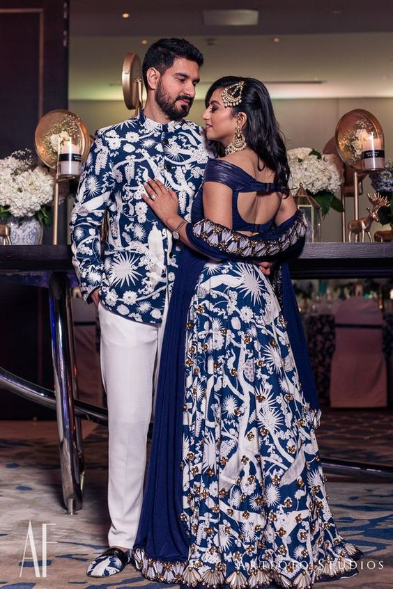 navy blue printed outfits