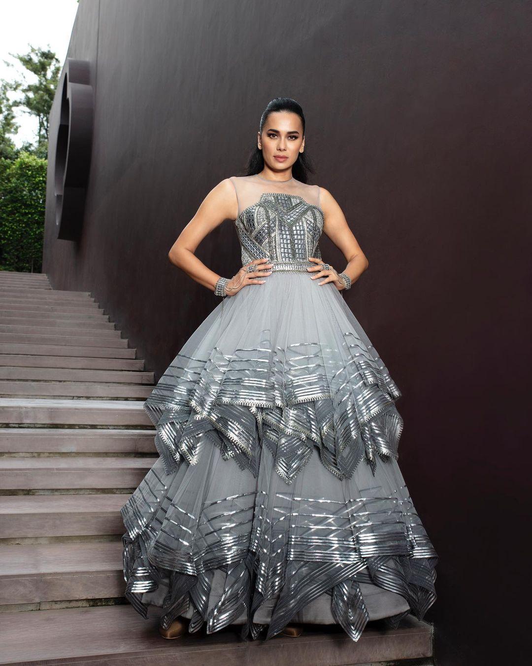 Designer Silver Gown
