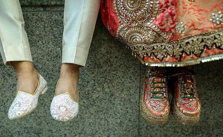bride wearing sneakers