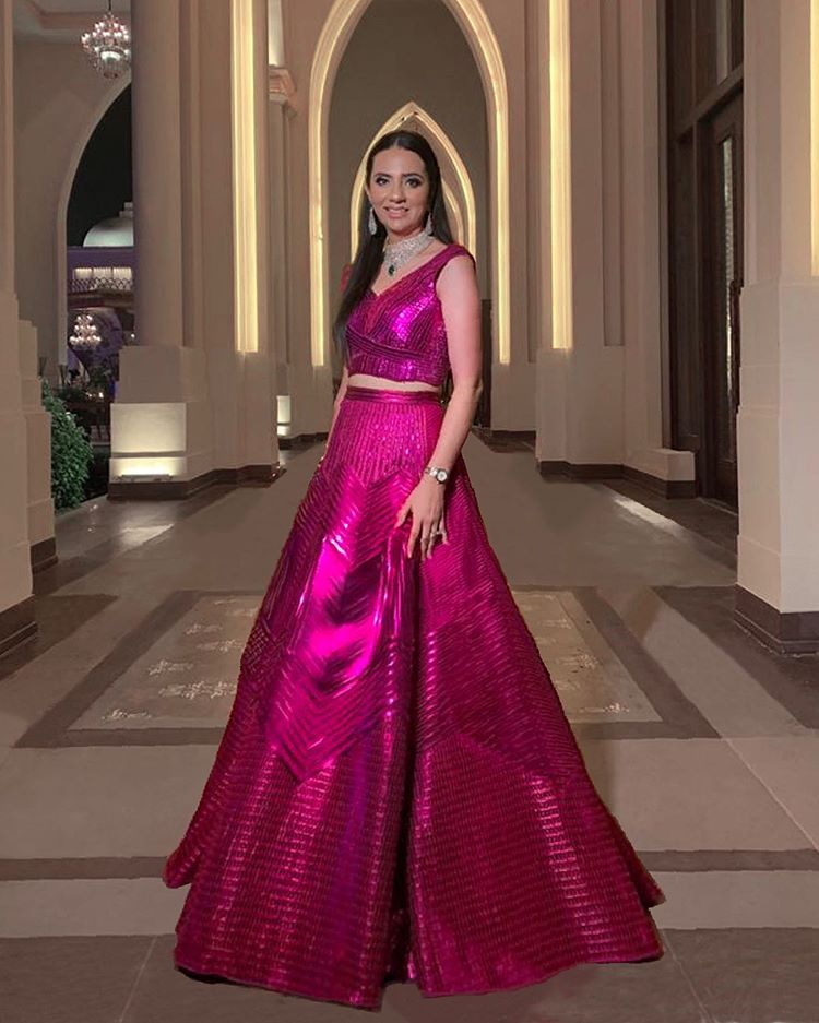 bright pink metallic blouse