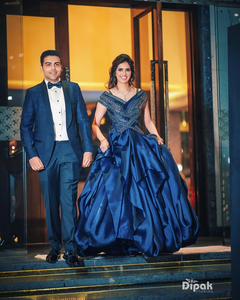 Royal Blue Layered Gown, Engagement gowns for brides