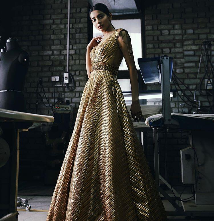 Golden Contemporary Gown, Engagement gowns for brides