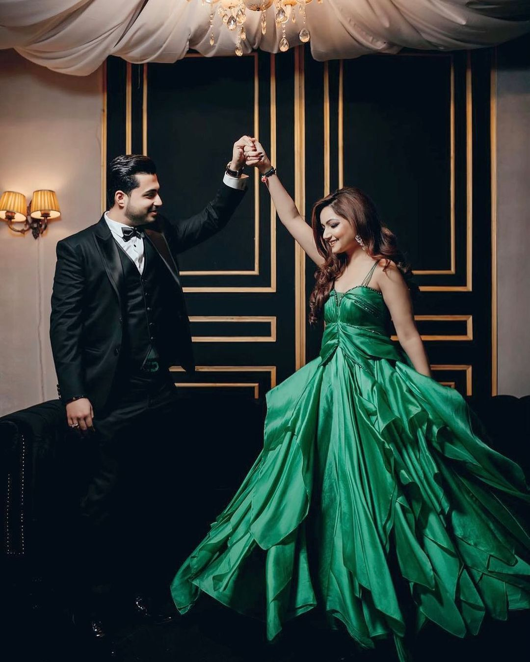 Green Layered Ball Gown, Engagement gowns for brides