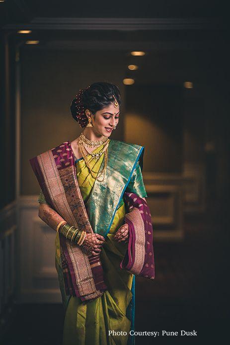 green silk Nauvari saree