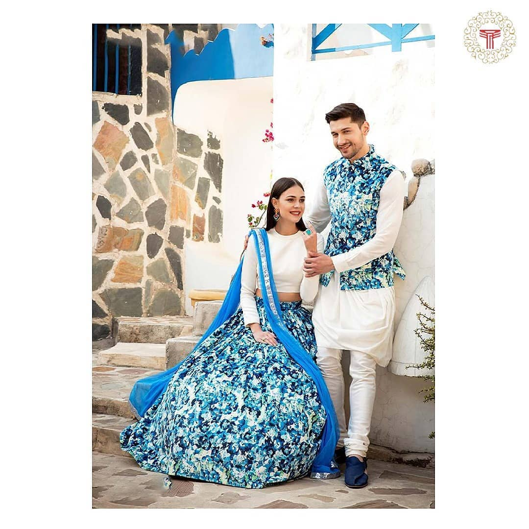 light blue printed outfits