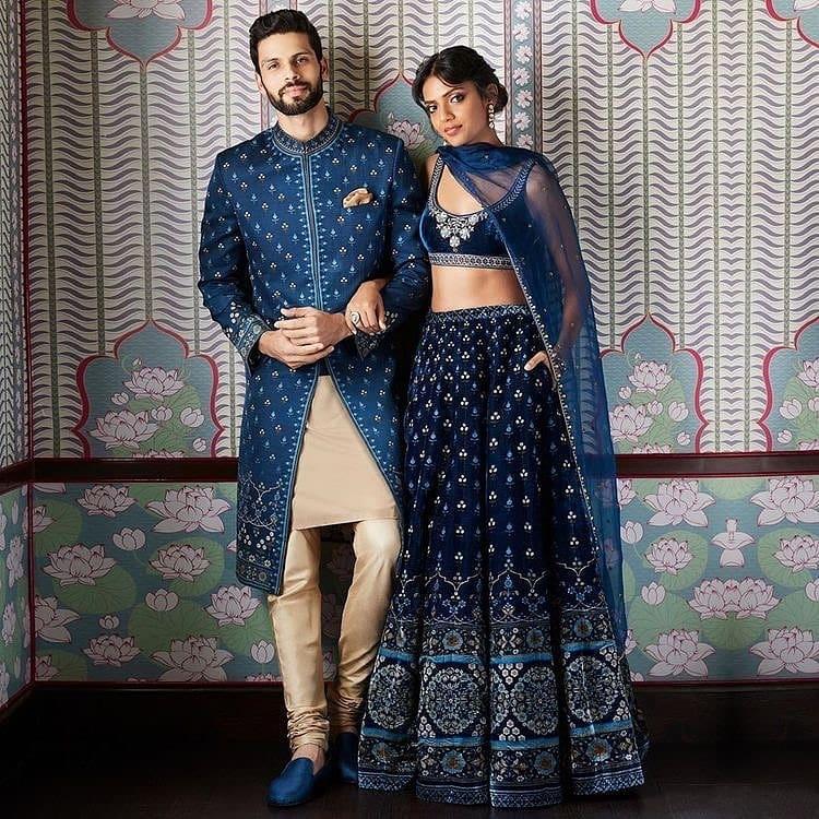 royal blue matching couple dresses