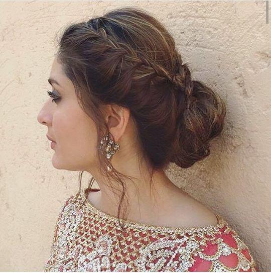 kareena side braid hair bun