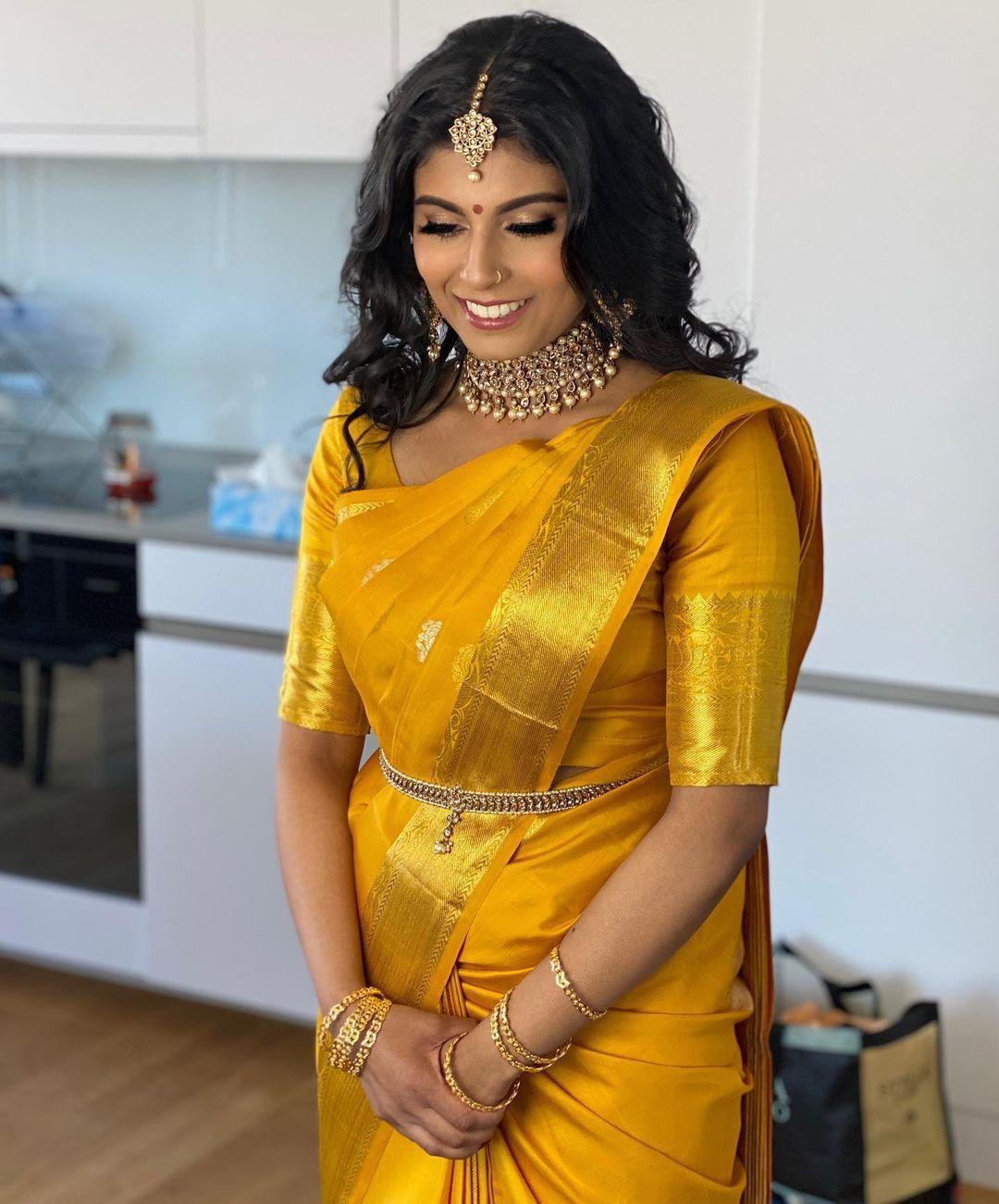 yellow kanjivaram saree