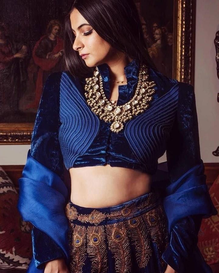 navy blue velvet blouse