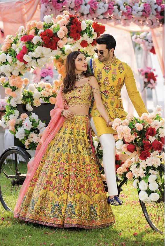 printed yellow matching couple outfits