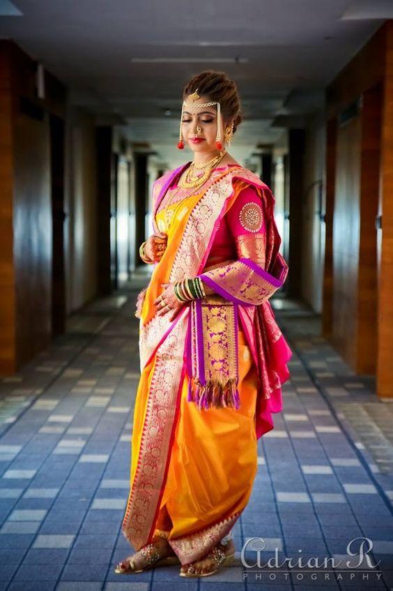 Timeless Nauvari Sarees For Stunning Maharashtrian Brides Pink color plain blouse, wash : timeless nauvari sarees for stunning