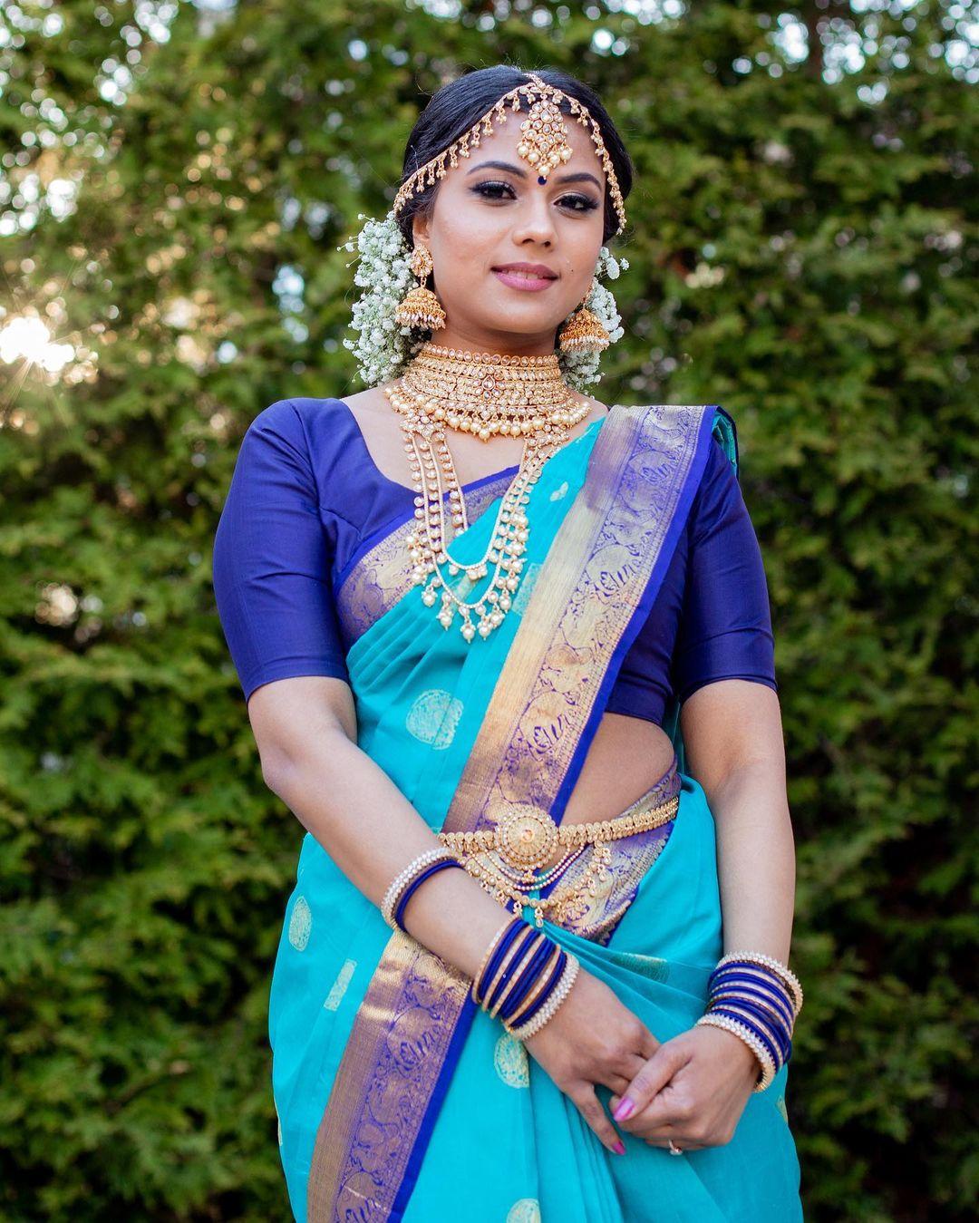 pearl bridal choker with kanjivaram