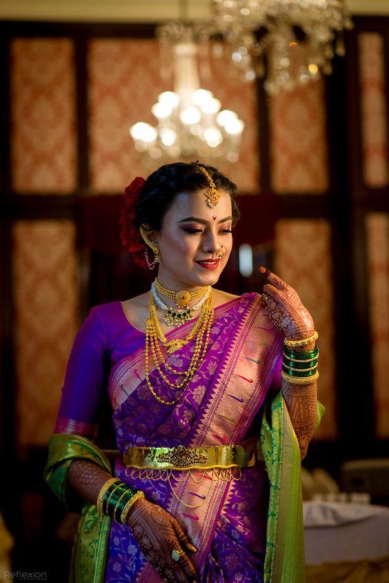 purple maharashtrian saree