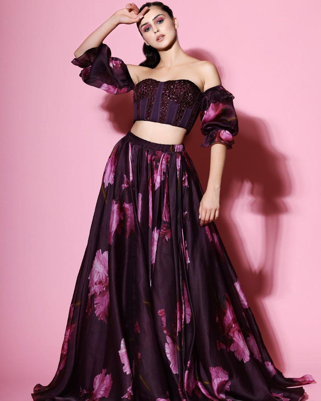 purple off shoulder blouse