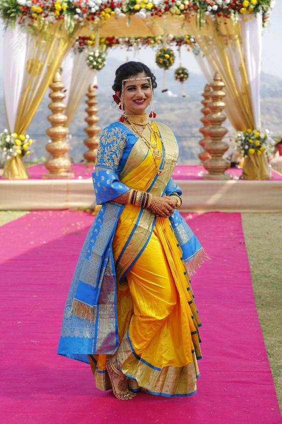yellow Nauvari saree