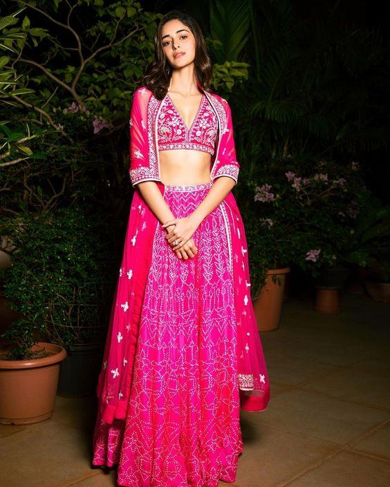 Ananya Panday in Pink Anita Dongre Lehenga