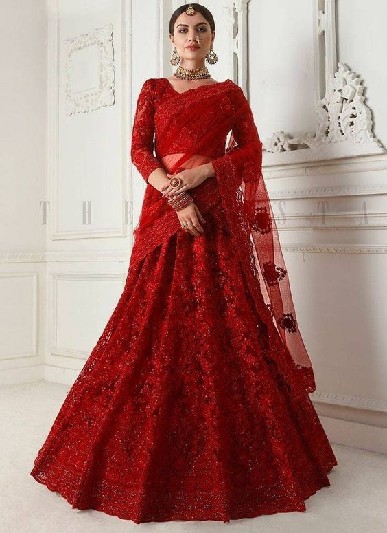 Bridal Red Monochrome Lehenga