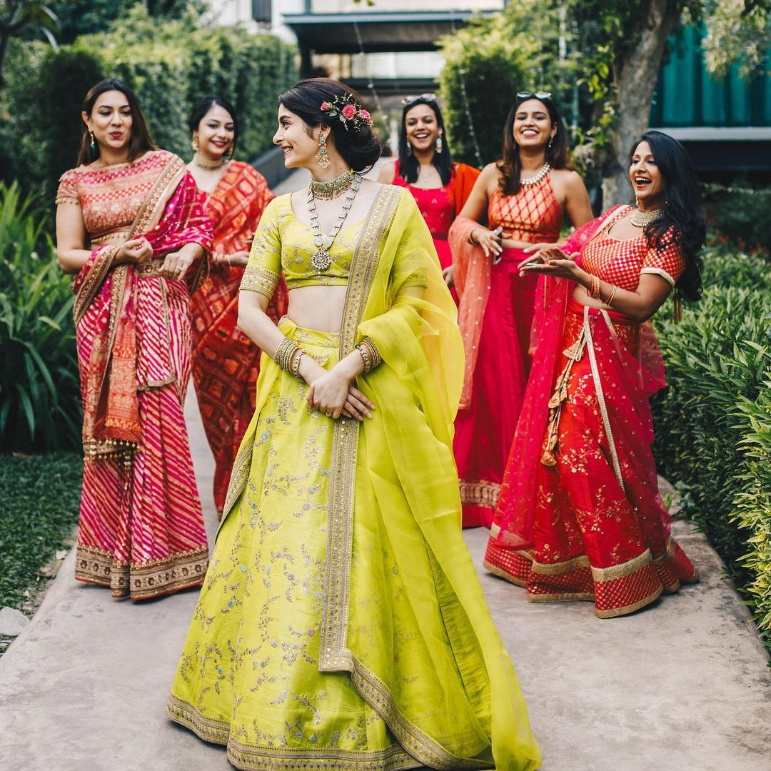 Bright yellow sabyasachi lehenga