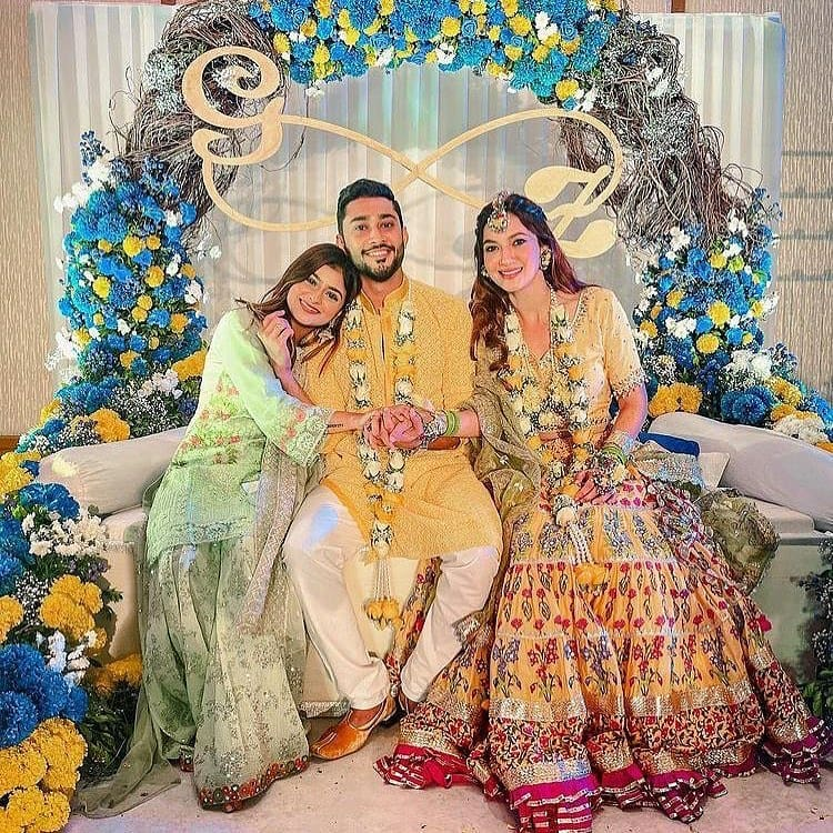 Gauahar and Zaid with sister