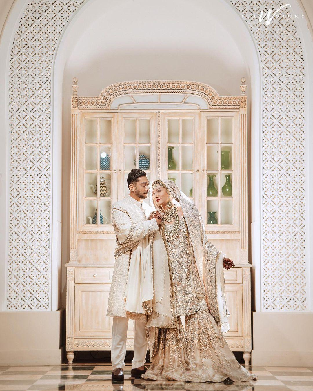 Gauahar and zaid wedding look