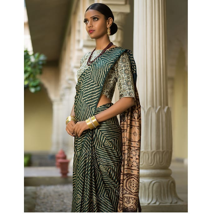 Green Ajrakh Printed Saree