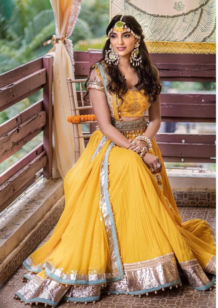 Miheeka bajaj yellow intimate wedding outfit