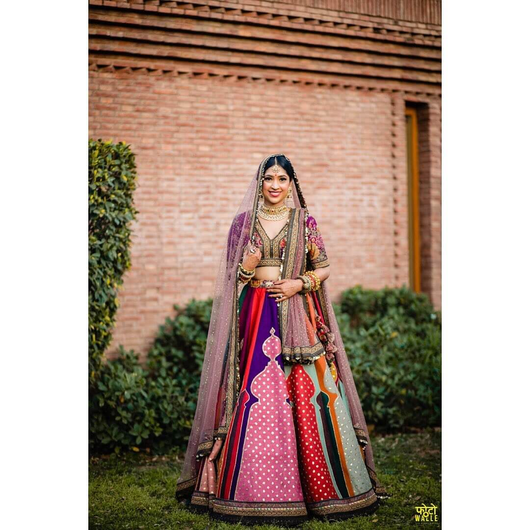 Multicolored lehenga intimate wedding outfits