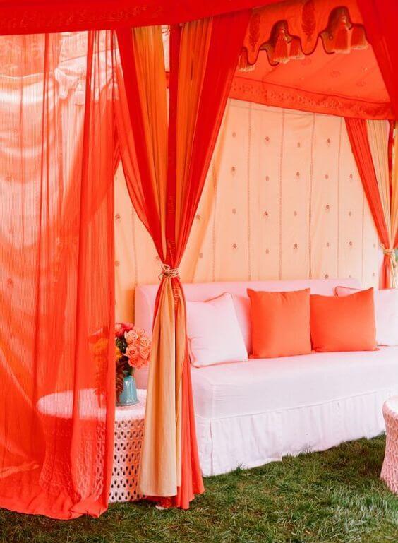 Papaya Orange Wedding Decor